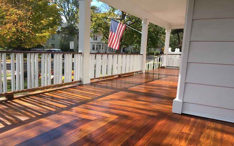 Porch Floor Refinished by Gikas Painting & Contracting