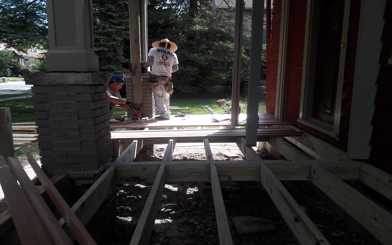 Porch in Progress by Gikas Painting & Contracting